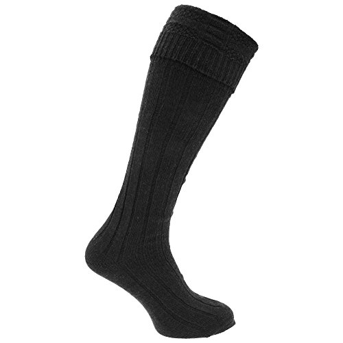 Mens Scottish Highland Wear Wool Kilt Hose Socks (1 Pair) (7-12 US) (Black) (Mens Black Kilt Hose compare prices)