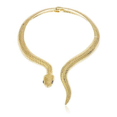 Goldtone Snake with Black Eyes Curved Bar Design Adjustable Neck Collar Choker Necklace