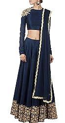 Sargam Fashion Embroidered With Embellished Blue Georgette Traditional Wedding Wear Lehenga Choli Set. - HFC_Blueberry_Lengha