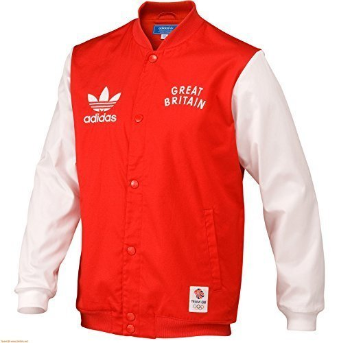 Adidas Team GB Great Britain GIACCA BOMBER GIACCA UOMO rosso rosso L