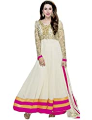 Exotic India Vanilla Bridal Karishma Anarkali Suit With Zardozi Embr - Off-White