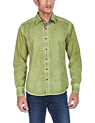 Zovi Men's Cotton Slim Fit Green Solid Casual Shirt With Cold Pigment Dyeing Effect - Full Sleeves (10909903101...