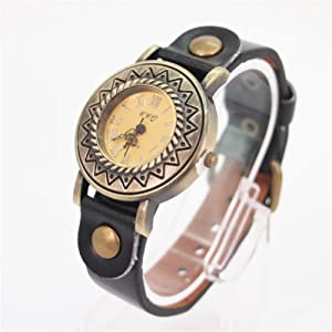 Magicpieces Black Sunflower Dial Watch with Leather Belt 101 DP 0417