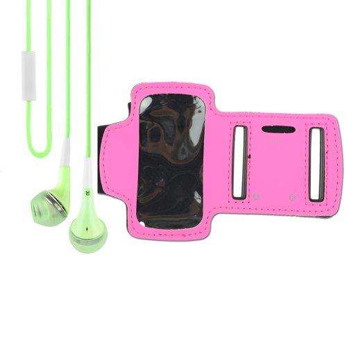 Sport Armband For Ipod Nano 7Th Generation (Rose) + Vangoddy Headphone With Mic , Green