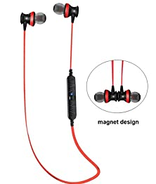 buy Bluetooth 4.0 Headphones Mini Lightweight Wireless Earphones Stereo Music Sport Earbuds Headsets With Magnet Attraction Design With Microphone For Iphone 6 6 Plus 5S 4S Galaxy S6 S5 And Ios Android Smartphone--Red A980