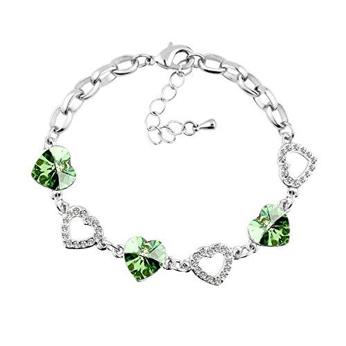 le-premiumr-cuori-collegano-braccialetto-a-forma-di-cuore-swarovski-peridoto-cristalli-verdi-rodiato