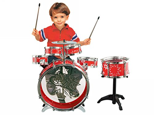 11pc kids boy girl drum set musical instrument toy playset red. Black Bedroom Furniture Sets. Home Design Ideas