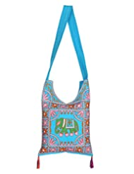 Rajrang Indain Designs Elephant Printed Cotton Embroidered Work Turquoise Sling Bag