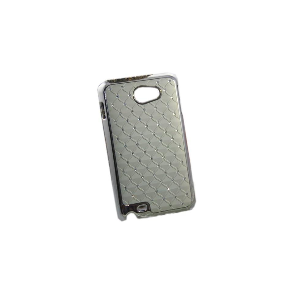 FJX Beige Rhinestone Shining Gypsophila Stars Chrome Plated Embossed Hard Case for Samsung Galaxy Note i9220 GT N7000