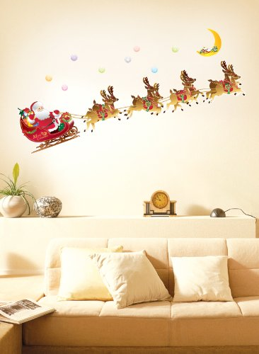 Christmas Holiday Time Reusable Wall Decoration Stickers - Santa and Reindeer Sleigh