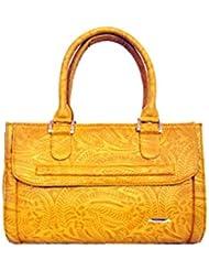 Shimmer Women's Handbag Leaf Print Mustard