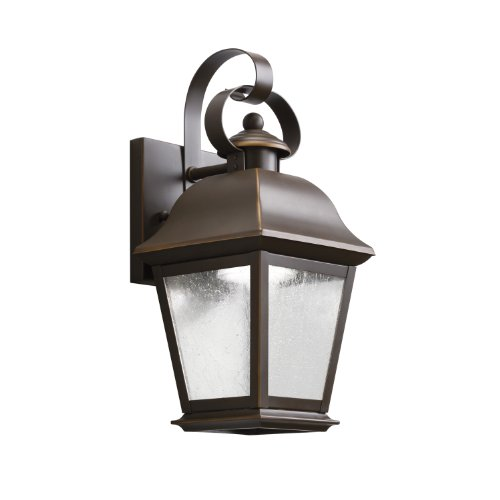 Kichler Lighting 9707Ozled Mount Vernon 13In 10W 3000K Led Exterior Wall Lantern, Olde Bronze Finish With Etched Seedy Glass