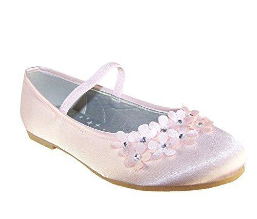 Girls pale raso rosa damigella matrimonio scarpe ballerine - Rosa Pallido, 29 EU