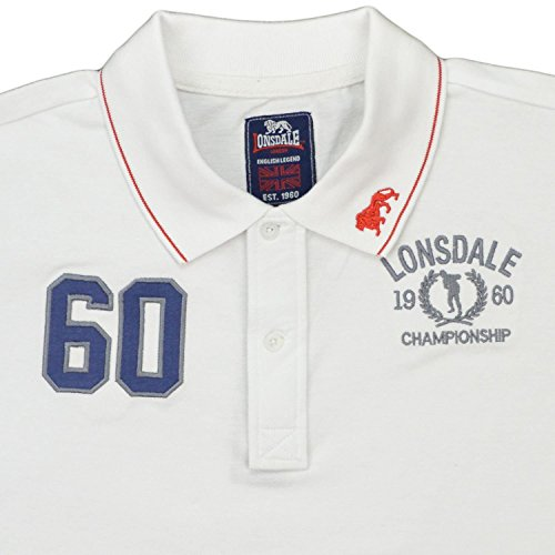 Polo MM Lonsdale London Uomo 100% Cotone Piquet White con Ricamo e Patch-XXL