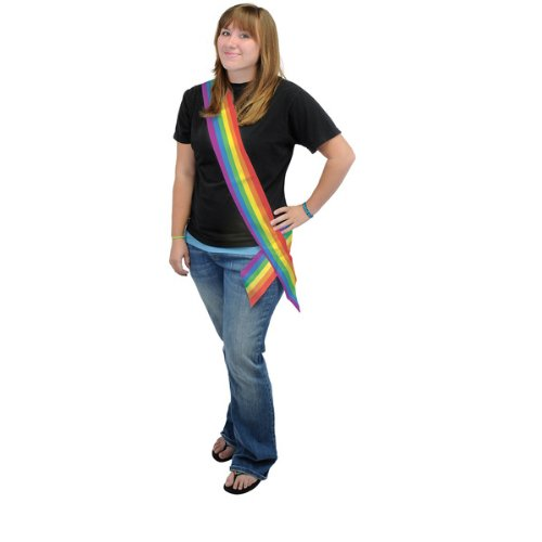 Rainbow Satin Sash Party Accessory (1 count) (1/Pkg)