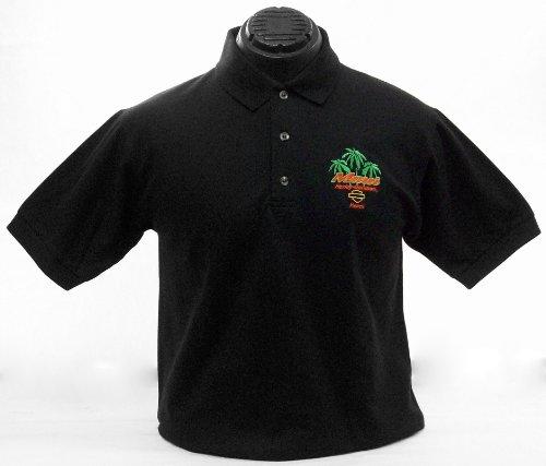 Maui Harley-Davidson Men's Palm Polo Black Shirt (Large)