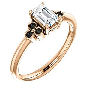 10K Rose Gold Emerald Cut White and Black Diamond Engagement Ring