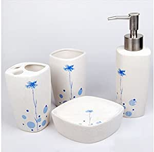 4 pieces bathroom set ceramic stylish for Bathroom decor on amazon