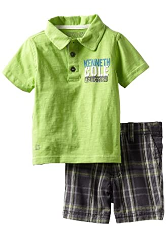 Kenneth Cole Baby-boys Infant Polo Shirt with Plaided Shorts, Green, 12 Months