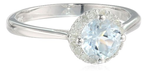 Sterling Silver Aquamarine and Diamond Ring (0.1 Cttw, G-H Color, I2-I3 Clarity), Size 6