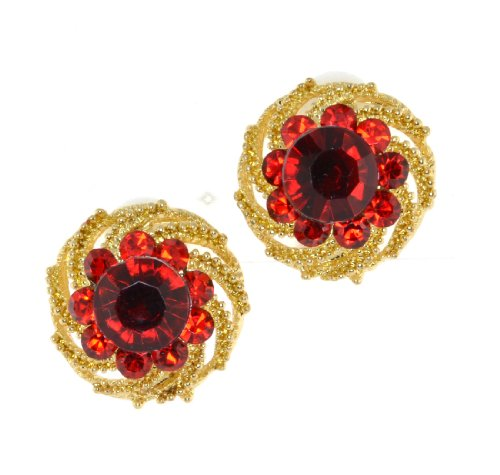 Vintage Siam and Red Austrian Crystal Flower Post Earrings