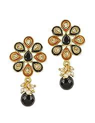 Blissdrizzle Orange Enamel Flower Shape Earrings
