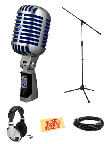 Shure Super 55 Deluxe Vocal Microphone Bundle With Boom Stand, Headphones, Xlr Cable, And Polishing Cloth