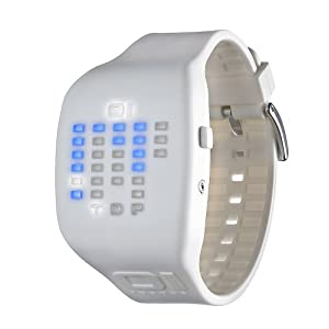 01TheOne Unisex IC900M3WH Ibiza Ride Digital Color White Rubber Watch