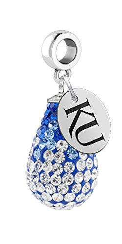 Kansas Jayhawks Crystal Dangle Charm - Fits All Bracelets