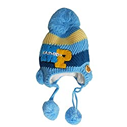 Bubbles Baby Kids Fur Cap With Side Protection- Pack of 1 (6-12 Months) (Blue)