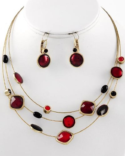 Multi Row Necklace & Earrings