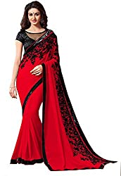 Fableela Women's Chiffon Saree with Blouse Piece (Red)