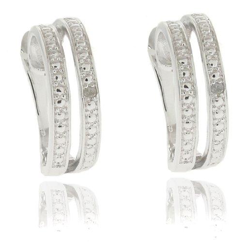 Silver Overlay Diamond Accent Double Curved Hoop Earrings