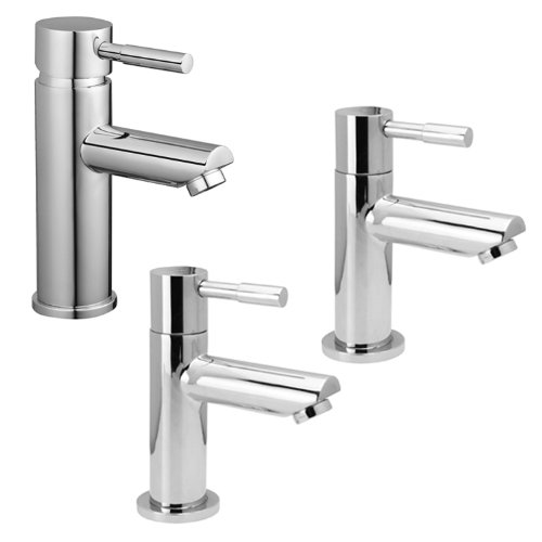 Chrome Monobloc Basin Mixer with Pair Hot and Cold Bath Taps