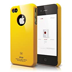 elago S4 Slim Fit Case for iPhone 4-Sport Yellow + HD Professional Extreme Clear film + Logo Protection Film included