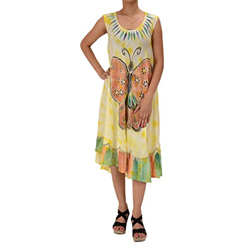 Skirts & Scarves Rayon Butterfly Caftan Tie N Dye Embroidered Sleeveless Dress For Women (Light Yellow)