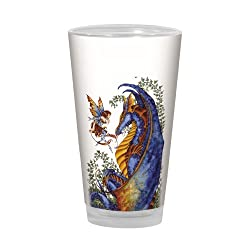 Tree-Free Greetings PG02544 Amy Brown Pint Glass, 16-Ounce, Fantasy Curiosity Dragon and Fairy Artful Alehouse