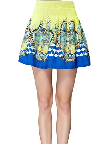 Elf Sack Womens Summer Skirt Short Contrast Color Baroque Printing Palace Large Size