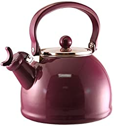 Reston Lloyd Calypso Basics Whistling Teakettle with Glass Lid, Plum, 2.2-Qt.