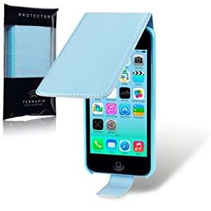 iPhone 5C Premium PU Leather Flip Case / Cover / Pouch / Holster - Blue