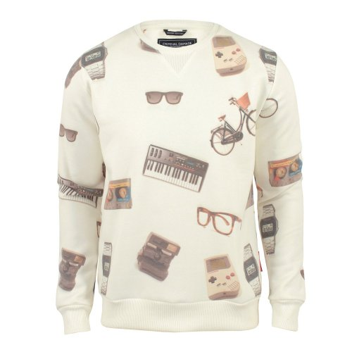 Criminal Damage Mens Retro Printed Sweatshirt Ecru Large