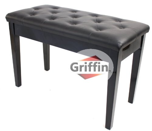 Review Of Ebony Black Leather Piano Bench Wood Double Duet Keyboard Seat with Storage Griffin