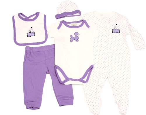 Baby Girls Infant Purple Pretty Poodle Applique Clothing Set