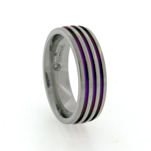 7mm Gray Titanium Ring with Triple Purple Anodized Color Inlay Center, Size 8
