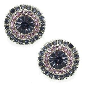 Mezzo Silver Lilac Crystal Clip On Earrings