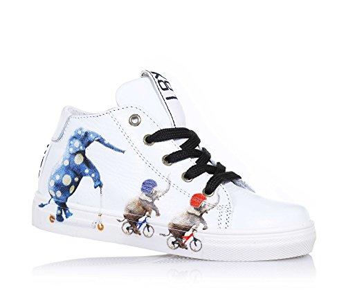 BE KOOL - Sneaker bianca stringata in pelle, ispirata dal mondo dell'arte di strada, con chiusura a zip laterale, occhielli in metallo,, Unisex Bambino-24