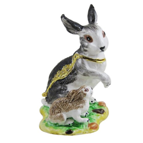 Rabbit & Baby Trinket Jewelry Box – Gray – Figurine – Bejeweled
