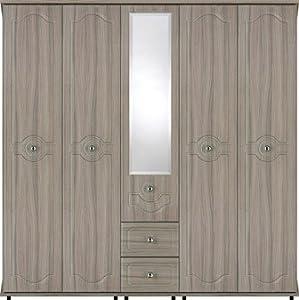 Large Wardrobe 5 Door 2 Drawer Ready Assembled Genoa Driftwood Grey Modern Bedroom Furniture
