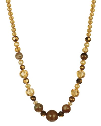Brown Agate and Glass with Freshwater Cultured Pearls Sterling Silver Necklace 18