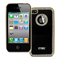 Empire Apple Iphone 4S Cover - Black Brushed Metal With Luxury Rhinestones Stealth Hard Case Cover